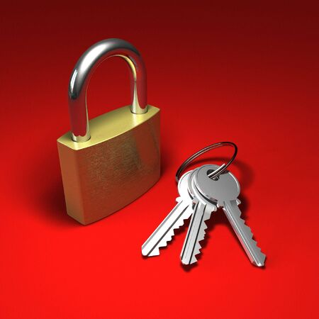 Padlock and bunch of keys on red photo