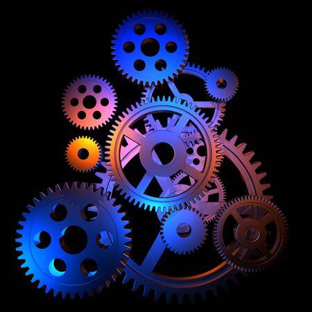 reloj de pendulo: Engranajes coloridos abstractos