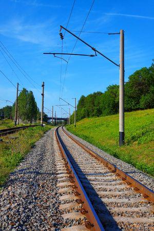 catenation: Railroad tracks in summer Stock Photo