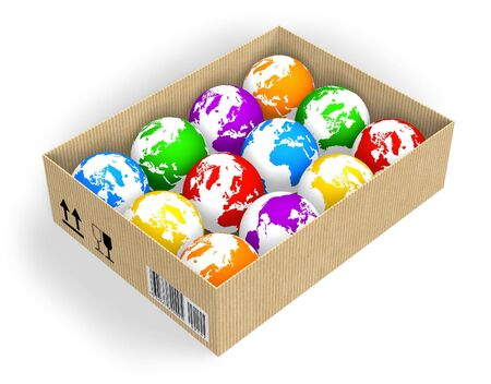 global logistics: Box with color globes