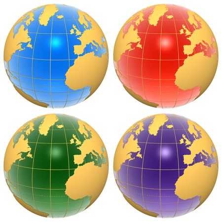 Set of color globes photo