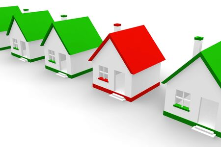 ones: Red house within green ones Stock Photo