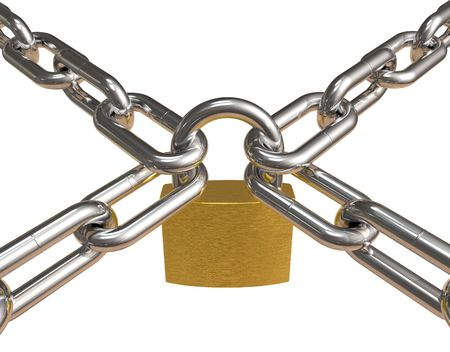 Crossed chains with padlock photo