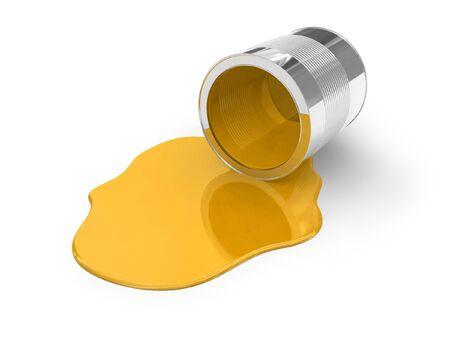 pintura derramada: Pintura derramado amarilla  Foto de archivo
