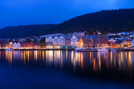 Evening panorama of Bergen, Norway photo