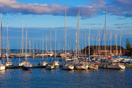 docked: Docked yachts in Helsinki, Finland Stock Photo