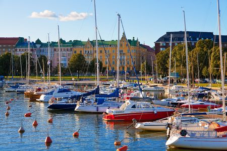 Docked yachts in the center of Helsinki, Finland