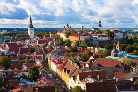 Panorama of the Old Town in Tallinn, Estonia photo