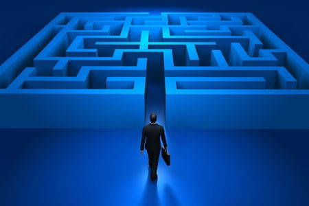 by the way: Businessman entering the labyrinth