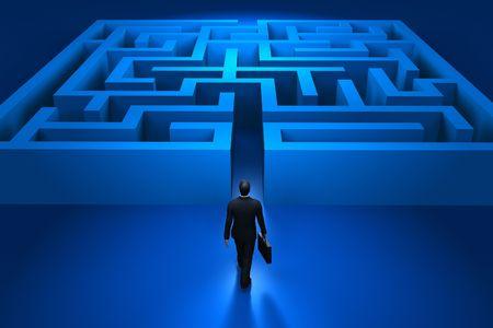 seeking: Businessman entering the labyrinth