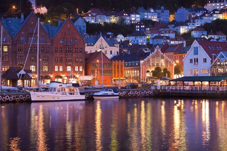 Scenery of Bryggen in Bergen, Norway photo