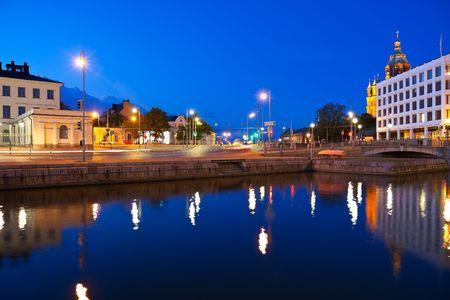 helsinki: Evening cityscape of Helsinki, Finland