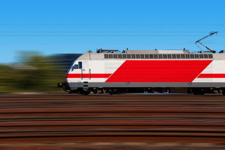 side by side: Fast train with motion blur