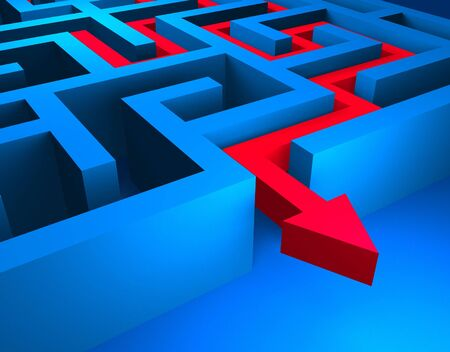 seeking solution: Red path across blue labyrinth