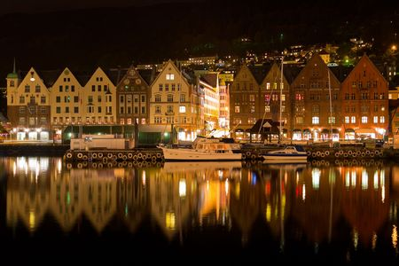 Night panorama of Bergen, Norway photo