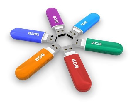 Set of color USB flash drives Stock Photo - 6037285