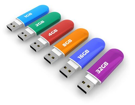 Row of color USB flash drives Stock Photo - 6037284