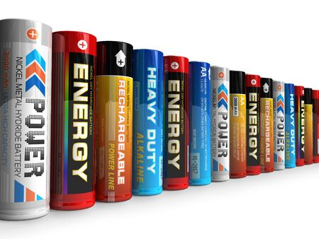 alkaline: Row of different AA batteries Stock Photo