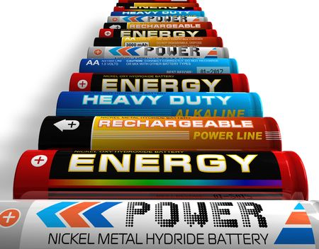 hydride: Row of different AA batteries Stock Photo