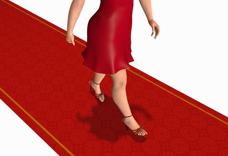 Woman walking by the red carpet photo