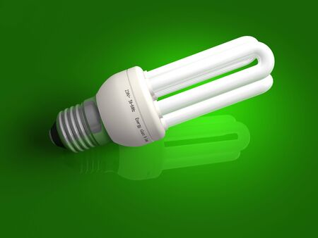 Low-energy lamp over green photo