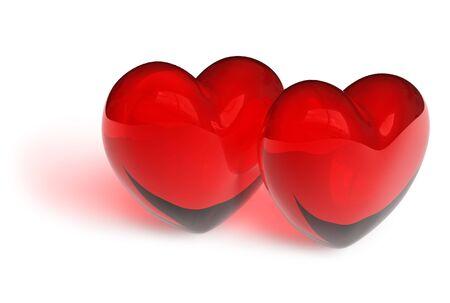 Couple of crystal hearts photo