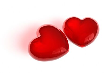 Pair of candy-like hearts photo