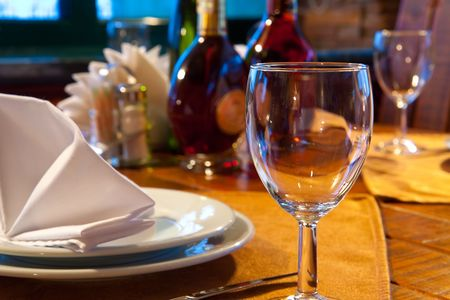 served: Served restaurant table Stock Photo