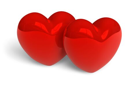 Couple of red glossy hearts photo