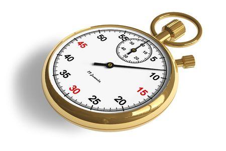 Golden stopwatch Stock Photo