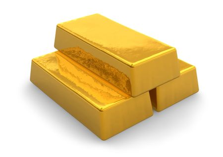 gold ingot: Gold bars Stock Photo