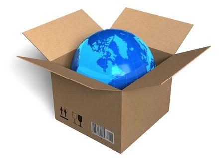 global problem: Earth globe in box Stock Photo