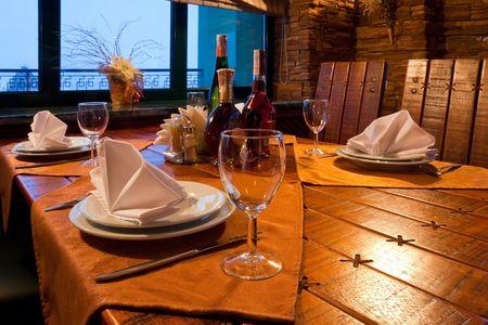 serving utensil: Served restaurant table Stock Photo