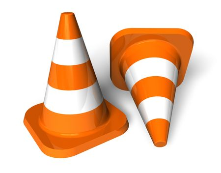 emergency attention: Traffic cones