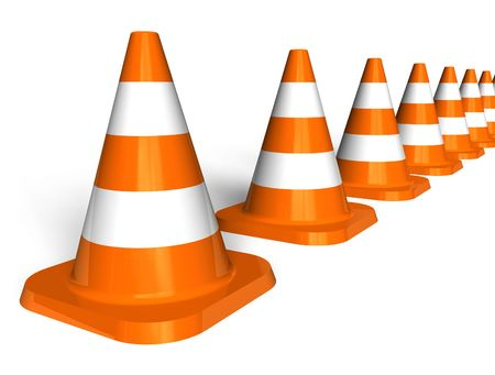 Row of traffic cones photo