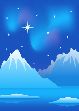 thawing: Arctic landscape Illustration