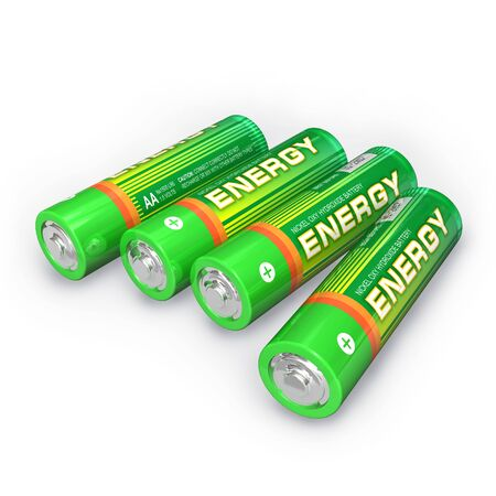 alkaline: Four AA batteries Stock Photo