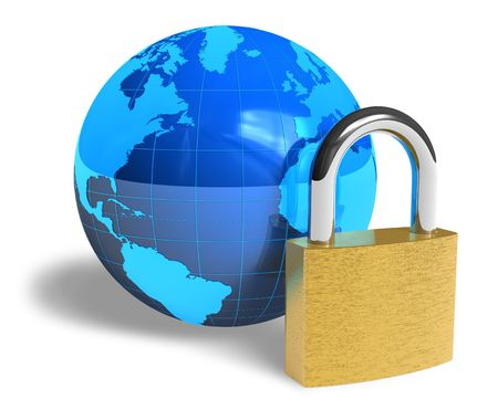 protect globe: Internet security concept Stock Photo