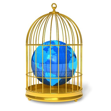 Earth globe in golden cage Stock Photo - 6784209