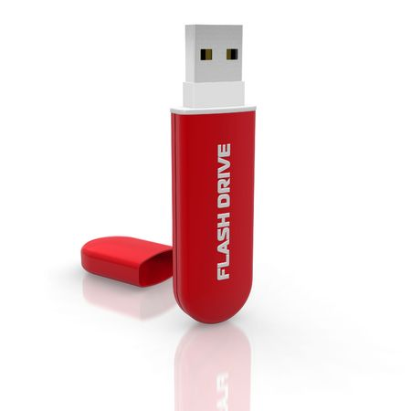 Red stylish USB flash drive Stock Photo - 6784217