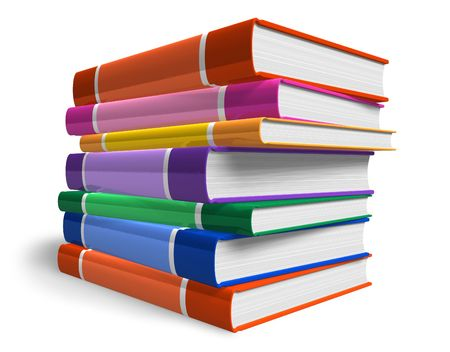 reference book: Pila de libros de color