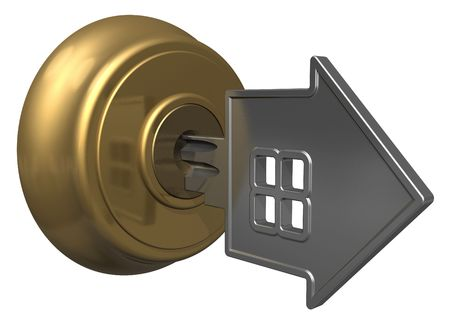 protect home: Key in keyhole