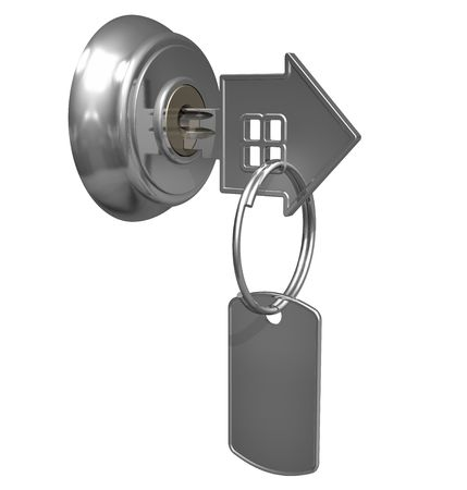 empty keyhole: Key with label in keyhole Stock Photo
