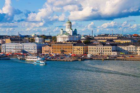finland: Summer panorama of Helsinki, Finland