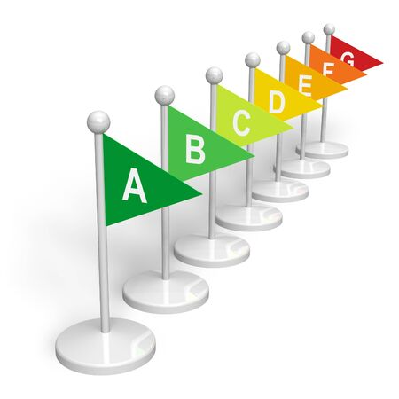 norm: Energy rating flags Stock Photo
