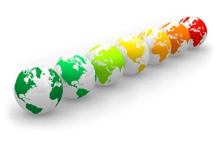 effizient: Energie Rating Skala von Erde Globen Lizenzfreie Bilder