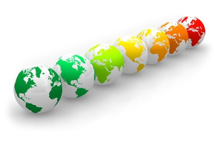 Energy rating scale from Earth globes Stock Photo - 6899696