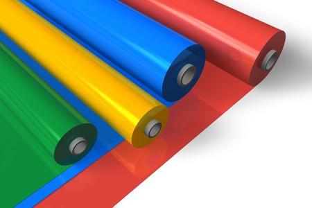 rubber sheet: Color plastic rolls Stock Photo