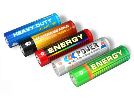 alkaline: Set of different AA batteries Stock Photo