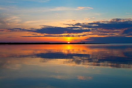 Scenic sea sunset photo